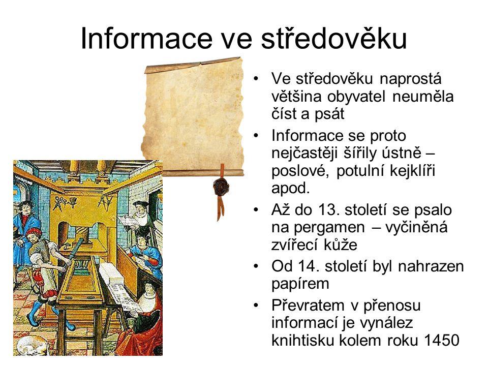 Informace ve středověku Ve středověku naprostá většina obyvatel neuměla číst a psát Informace se proto nejčastěji šířily ústně – poslové, potulní kejklíři apod.