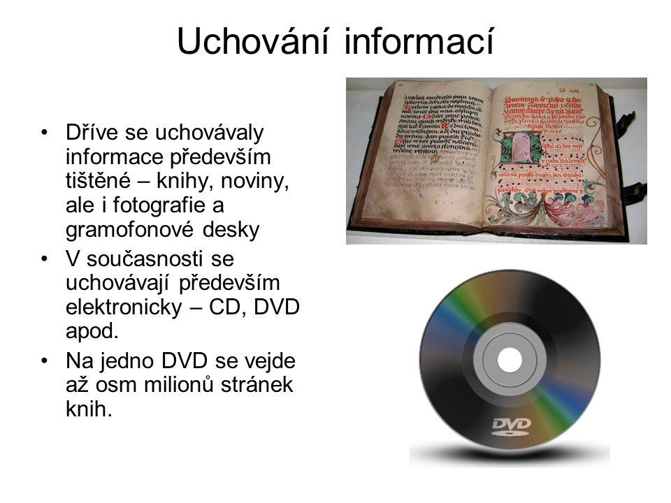 Uchování informací Dříve se uchovávaly informace především tištěné – knihy, noviny, ale i fotografie a gramofonové desky V současnosti se uchovávají především elektronicky – CD, DVD apod.