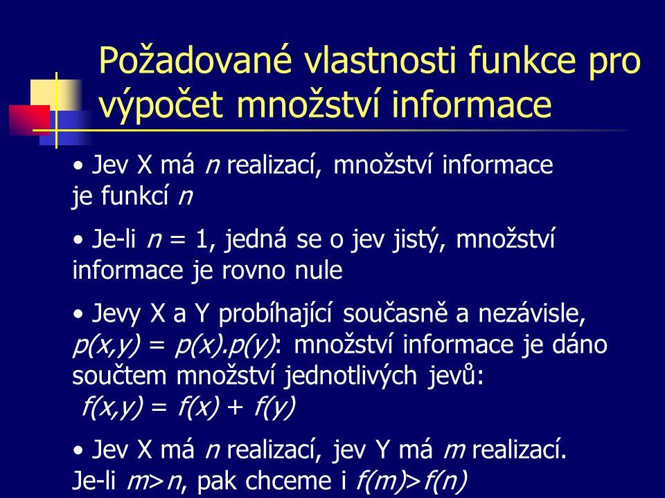 Požadované vlastnosti funkce pro výpočet množství informace Jev X má n realizací, množství informace je funkcí n Je-li n = 1, jedná se o jev jistý, mn