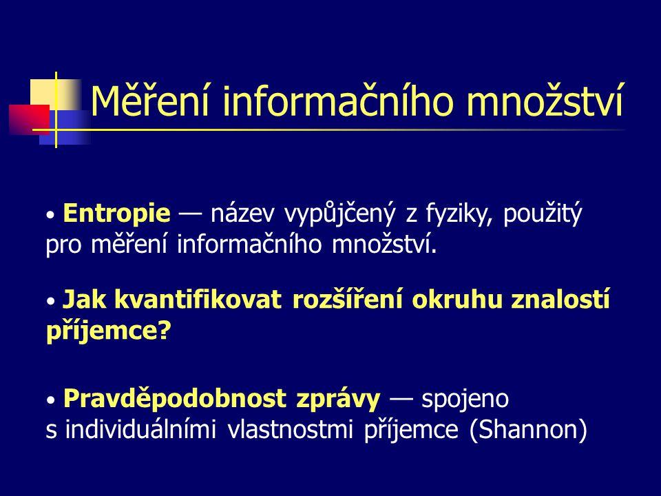 Měření informačního množství Entropie — název vypůjčený z fyziky, použitý pro měření informačního množství. Jak kvantifikovat rozšíření okruhu znalost