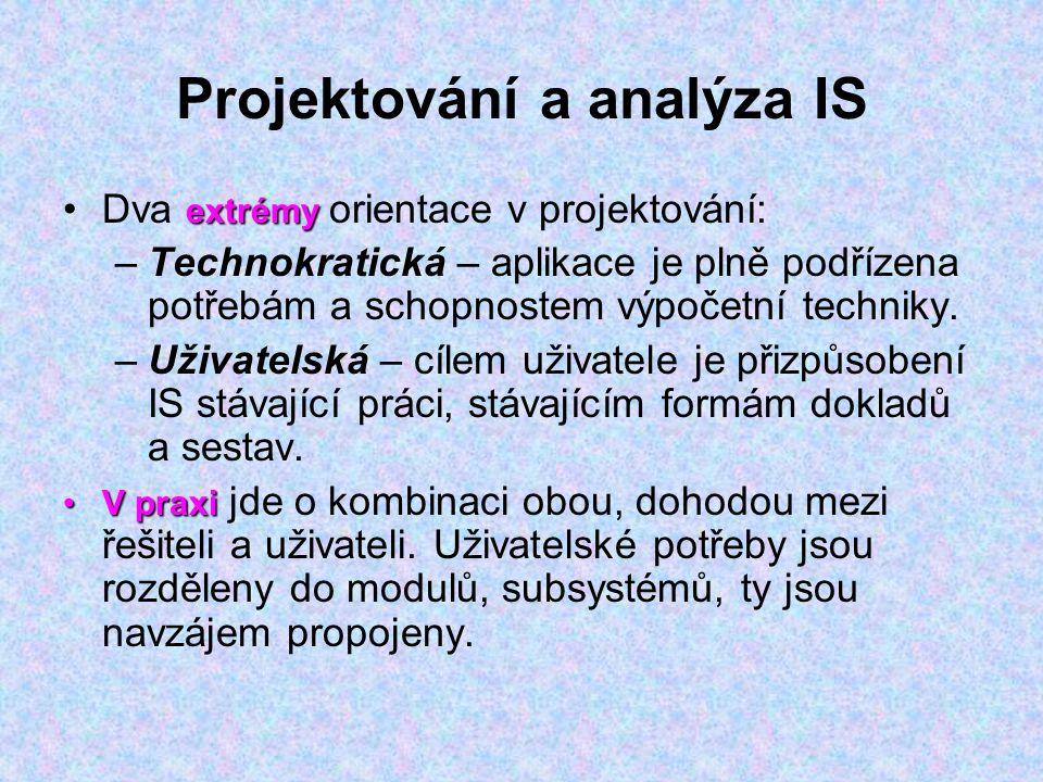 Projektování a analýza IS extrémyDva extrémy orientace v projektování: –Technokratická – aplikace je plně podřízena potřebám a schopnostem výpočetní t