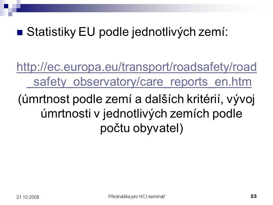 Přednáška pro HCI seminář23 21.10.2008 Statistiky EU podle jednotlivých zemí: http://ec.europa.eu/transport/roadsafety/road _safety_observatory/care_r