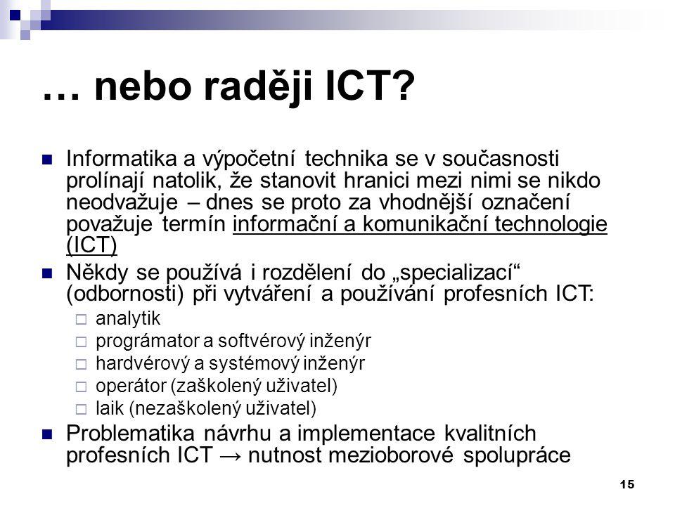 15 … nebo raději ICT.