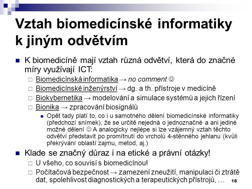 18 Vztah biomedicínské informatiky k jiným odvětvím K biomedicíně mají vztah různá odvětví, která do značné míry využívají ICT:  Biomedicínská informatika → no comment  Biomedicínské inženýrství → dg.