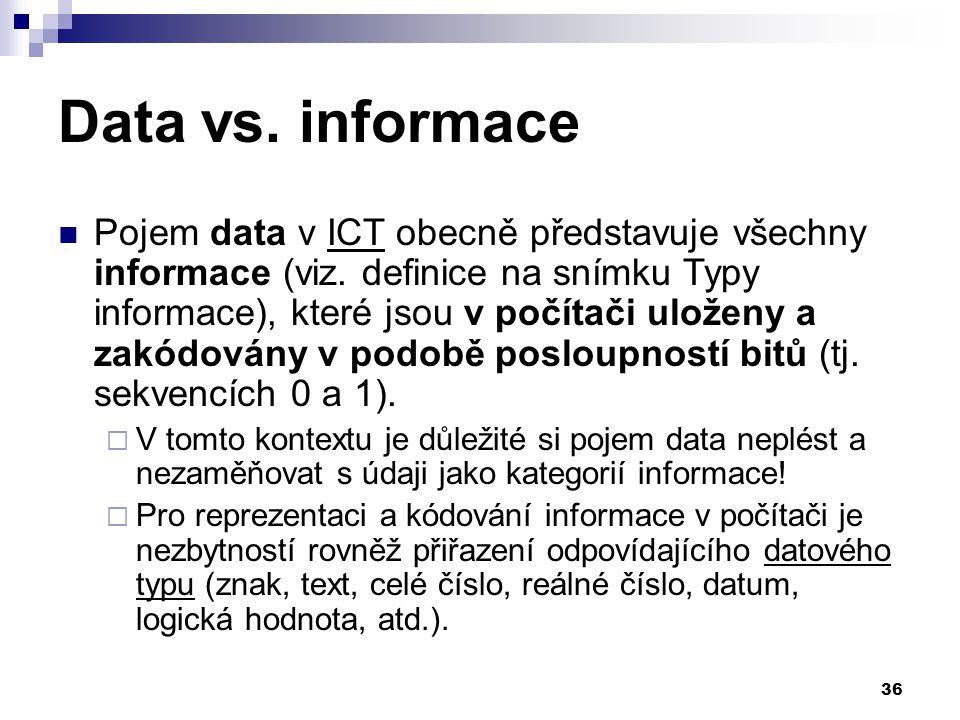 36 Data vs.informace Pojem data v ICT obecně představuje všechny informace (viz.