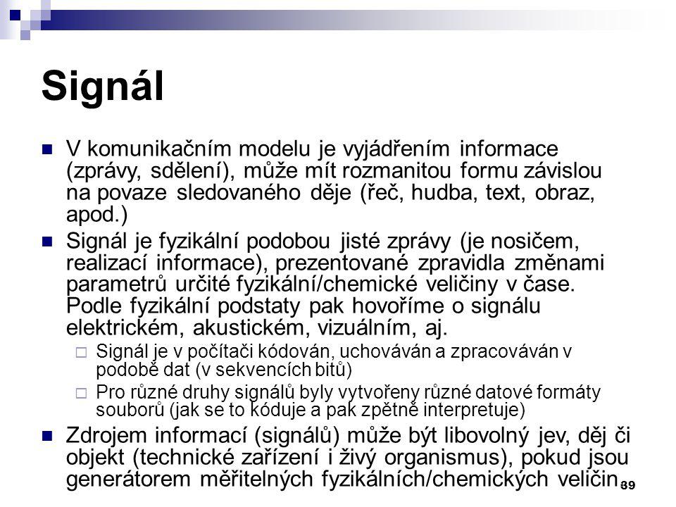 39 Signál V komunikačním modelu je vyjádřením informace (zprávy, sdělení), může mít rozmanitou formu závislou na povaze sledovaného děje (řeč, hudba, text, obraz, apod.) Signál je fyzikální podobou jisté zprávy (je nosičem, realizací informace), prezentované zpravidla změnami parametrů určité fyzikální/chemické veličiny v čase.