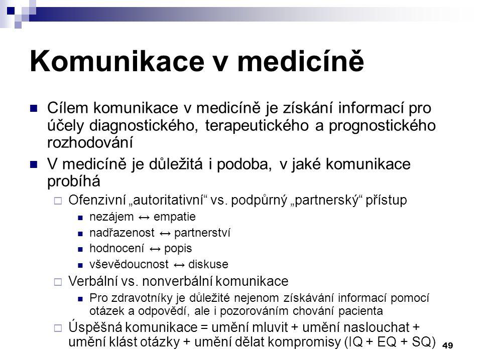 """49 Komunikace v medicíně Cílem komunikace v medicíně je získání informací pro účely diagnostického, terapeutického a prognostického rozhodování V medicíně je důležitá i podoba, v jaké komunikace probíhá  Ofenzivní """"autoritativní vs."""