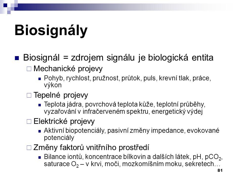 81 Biosignály Biosignál = zdrojem signálu je biologická entita  Mechanické projevy Pohyb, rychlost, pružnost, průtok, puls, krevní tlak, práce, výkon  Tepelné projevy Teplota jádra, povrchová teplota kůže, teplotní průběhy, vyzařování v infračerveném spektru, energetický výdej  Elektrické projevy Aktivní biopotenciály, pasivní změny impedance, evokované potenciály  Změny faktorů vnitřního prostředí Bilance iontů, koncentrace bílkovin a dalších látek, pH, pCO 2, saturace O 2 – v krvi, moči, mozkomíšním moku, sekretech…