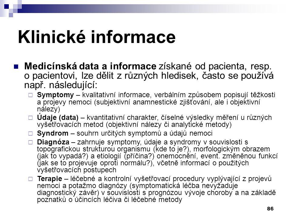 86 Klinické informace Medicínská data a informace získané od pacienta, resp.