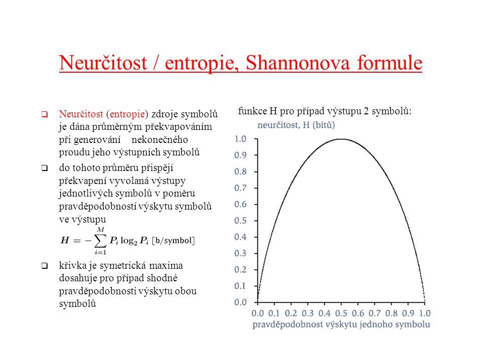 Neurčitost / entropie, Shannonova formule  Neurčitost (entropie) zdroje symbolů je dána průměrným překvapováním při generování nekonečného proudu jeho výstupních symbolů  do tohoto průměru přispějí překvapení vyvolaná výstupy jednotlivých symbolů v poměru pravděpodobností výskytu symbolů ve výstupu  křivka je symetrická maxima dosahuje pro případ shodné pravděpodobnosti výskytu obou symbolů funkce H pro případ výstupu 2 symbolů: