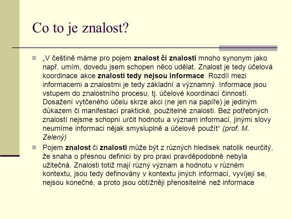 """Co to je znalost.""""V češtině máme pro pojem znalost či znalosti mnoho synonym jako např."""