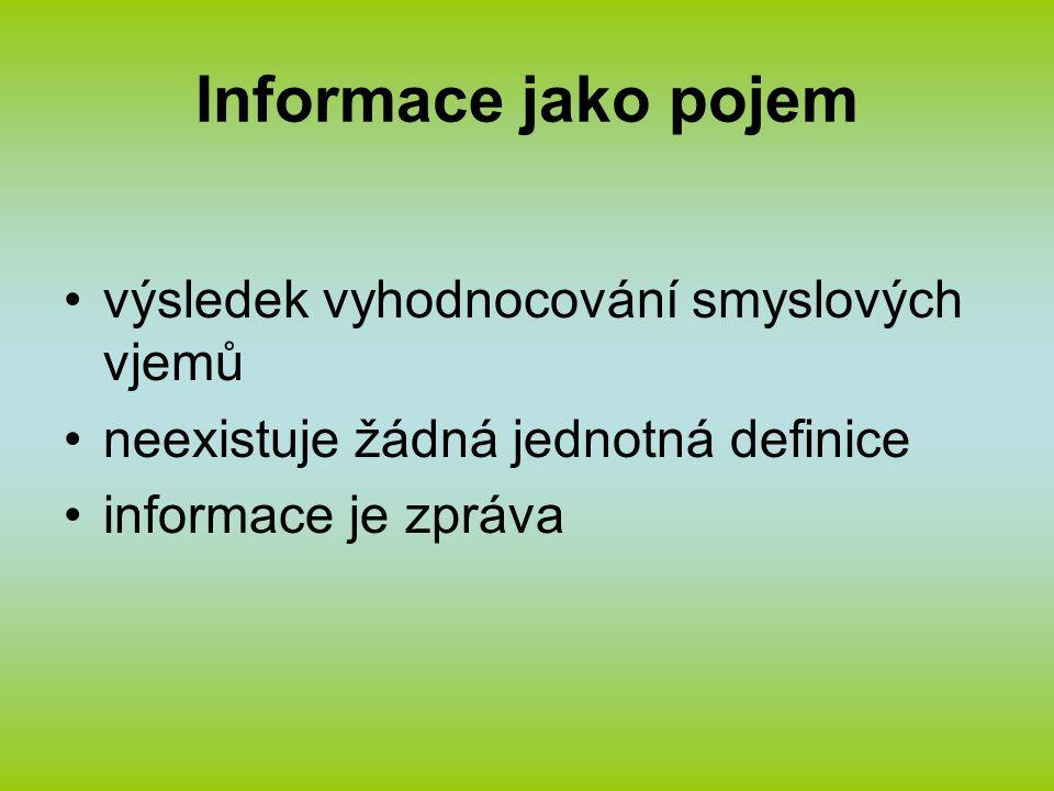Informace jako pojem výsledek vyhodnocování smyslových vjemů neexistuje žádná jednotná definice informace je zpráva