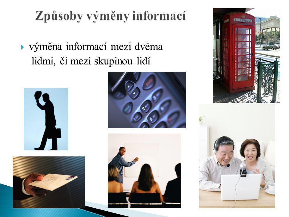  výměna informací mezi dvěma lidmi, či mezi skupinou lidí
