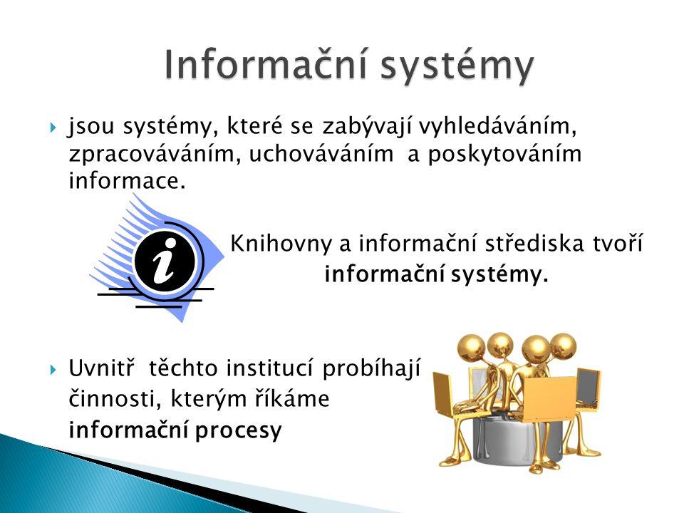  jsou systémy, které se zabývají vyhledáváním, zpracováváním, uchováváním a poskytováním informace.
