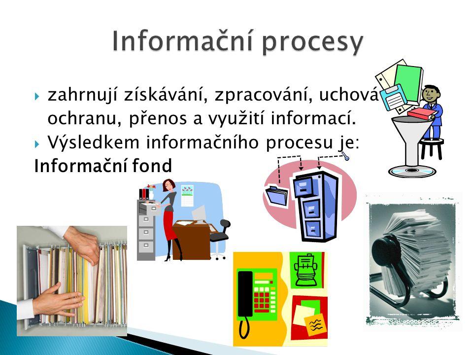  zahrnují získávání, zpracování, uchovávání a ochranu, přenos a využití informací.