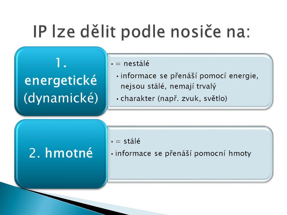 = nestálé informace se přenáší pomocí energie, nejsou stálé, nemají trvalý charakter (např.