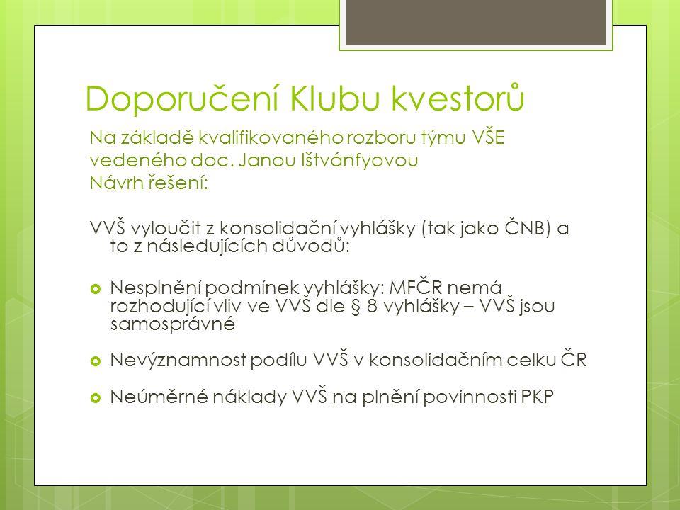 Doporučení Klubu kvestorů Na základě kvalifikovaného rozboru týmu VŠE vedeného doc.