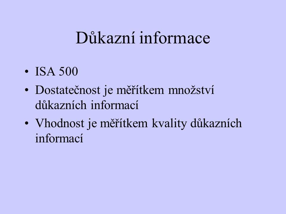 Důkazní informace ISA 500 Dostatečnost je měřítkem množství důkazních informací Vhodnost je měřítkem kvality důkazních informací