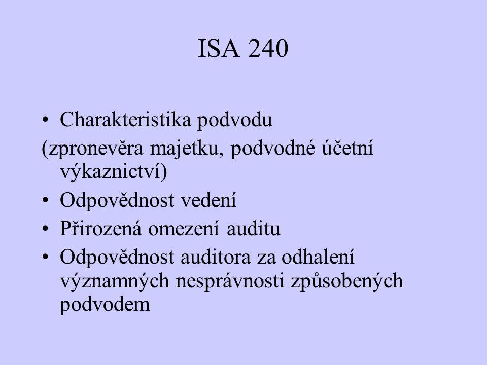 ISA 240 Charakteristika podvodu (zpronevěra majetku, podvodné účetní výkaznictví) Odpovědnost vedení Přirozená omezení auditu Odpovědnost auditora za