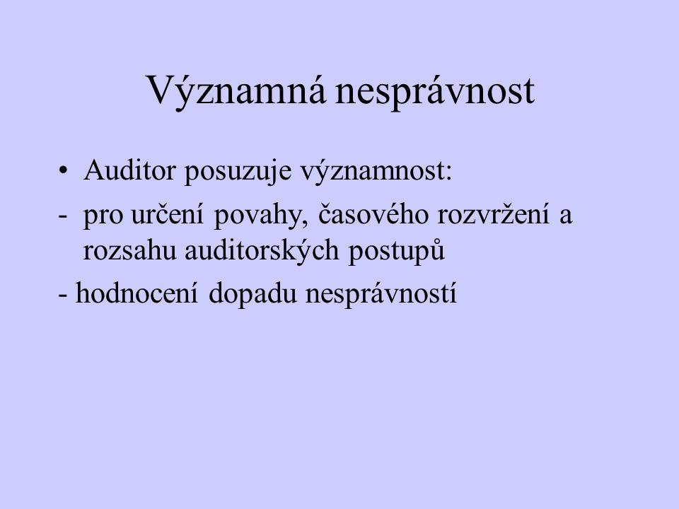Významná nesprávnost Auditor posuzuje významnost: -pro určení povahy, časového rozvržení a rozsahu auditorských postupů - hodnocení dopadu nesprávnost