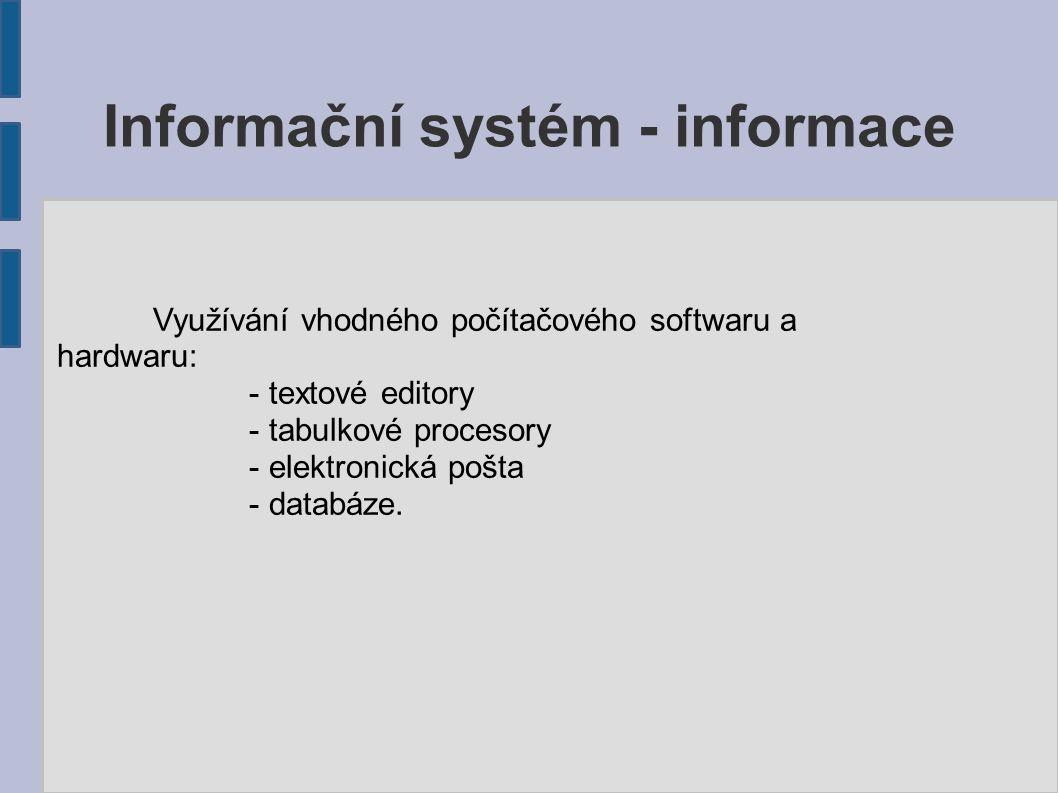 Informační systém - informace Úkol: Zařaďte následující typy informací (možno i více kategorií): - předpokládaný prodej zboží....................................plánovací - počet zameškaných hodin studenta Nováka...........kvantitativní - počet automobilů k 1.