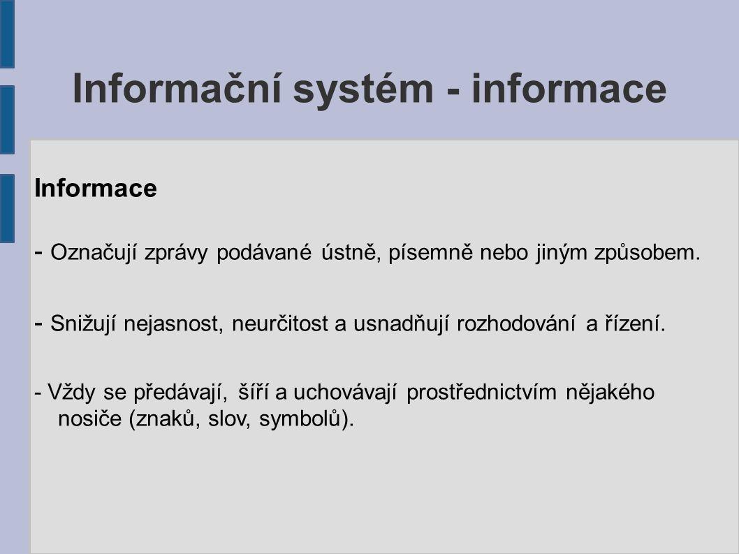 Informace - Označují zprávy podávané ústně, písemně nebo jiným způsobem. - Snižují nejasnost, neurčitost a usnadňují rozhodování a řízení. - Vždy se p