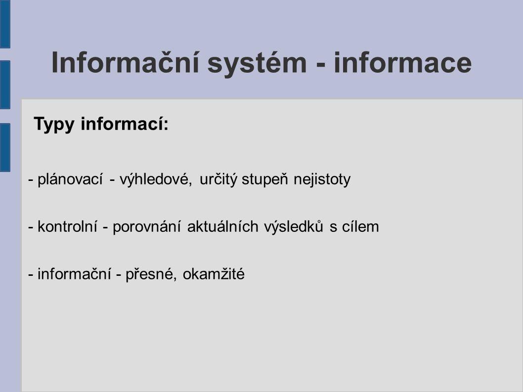 Informační systém - informace Typy informací: - plánovací - výhledové, určitý stupeň nejistoty - kontrolní - porovnání aktuálních výsledků s cílem - i
