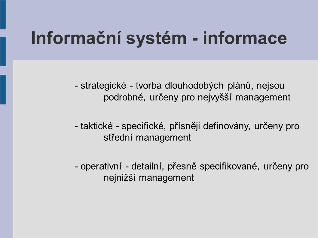 Informační systém - informace - kvalitativní (slovní) - subjektivní povahy, morální charakter - kvantitativní (číselné) - vhodné pro plánování a kontroly - kvantifikovatelné slovní - složité pro rozhodování