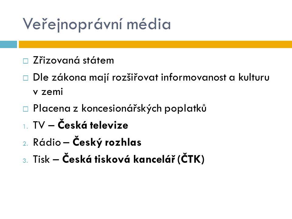 Veřejnoprávní média  Zřizovaná státem  Dle zákona mají rozšiřovat informovanost a kulturu v zemi  Placena z koncesionářských poplatků 1. TV – Česká