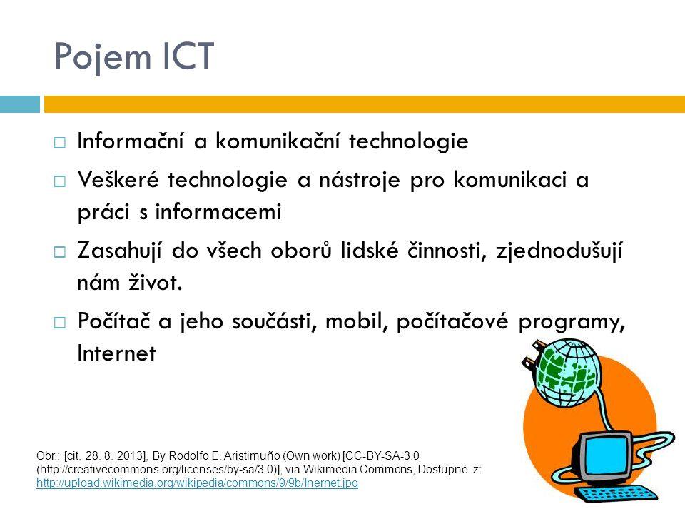 Pojem ICT  Informační a komunikační technologie  Veškeré technologie a nástroje pro komunikaci a práci s informacemi  Zasahují do všech oborů lidsk