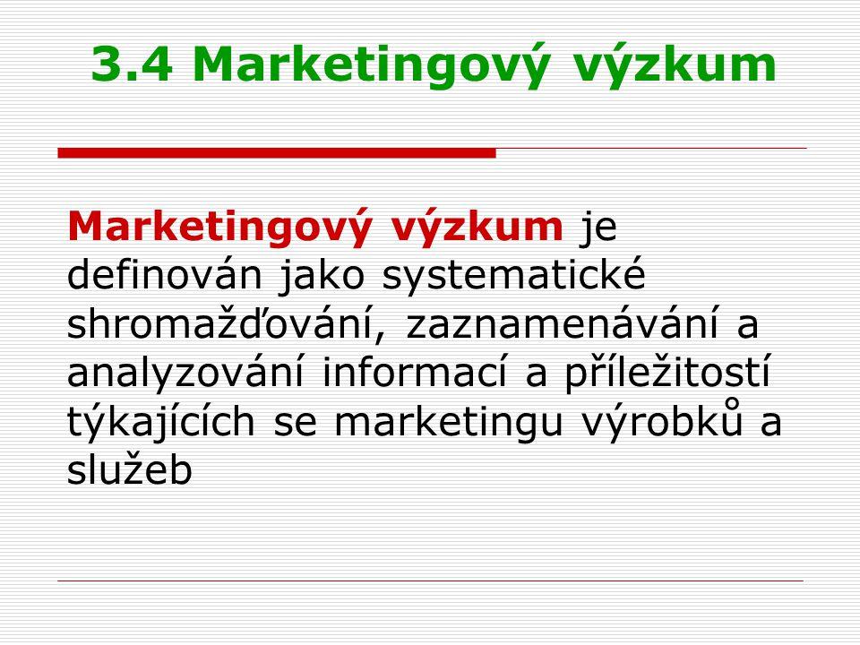 Marketingový výzkum je definován jako systematické shromažďování, zaznamenávání a analyzování informací a příležitostí týkajících se marketingu výrobků a služeb 3.4 Marketingový výzkum