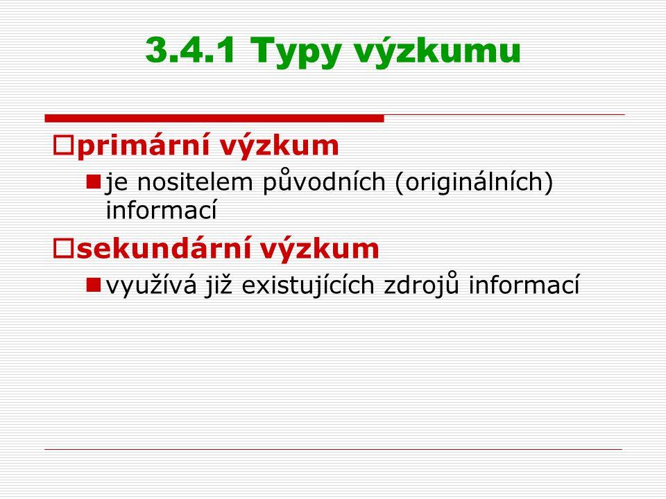 3.4.1 Typy výzkumu  primární výzkum je nositelem původních (originálních) informací  sekundární výzkum využívá již existujících zdrojů informací