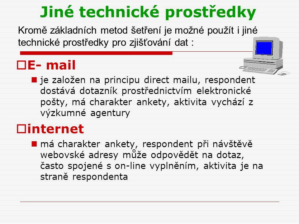 Jiné technické prostředky  E- mail je založen na principu direct mailu, respondent dostává dotazník prostřednictvím elektronické pošty, má charakter ankety, aktivita vychází z výzkumné agentury  internet má charakter ankety, respondent při návštěvě webovské adresy může odpovědět na dotaz, často spojené s on-line vyplněním, aktivita je na straně respondenta Kromě základních metod šetření je možné použít i jiné technické prostředky pro zjišťování dat :