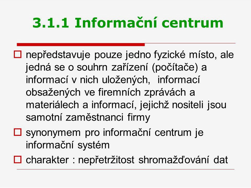 3.1.1 Informační centrum  nepředstavuje pouze jedno fyzické místo, ale jedná se o souhrn zařízení (počítače) a informací v nich uložených, informací obsažených ve firemních zprávách a materiálech a informací, jejichž nositeli jsou samotní zaměstnanci firmy  synonymem pro informační centrum je informační systém  charakter : nepřetržitost shromažďování dat
