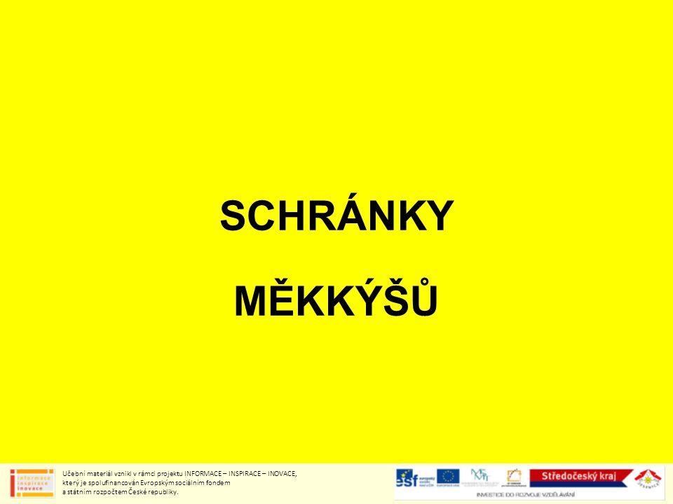 SCHRÁNKY MĚKKÝŠŮ Učební materiál vznikl v rámci projektu INFORMACE – INSPIRACE – INOVACE, který je spolufinancován Evropským sociálním fondem a státním rozpočtem České republiky.