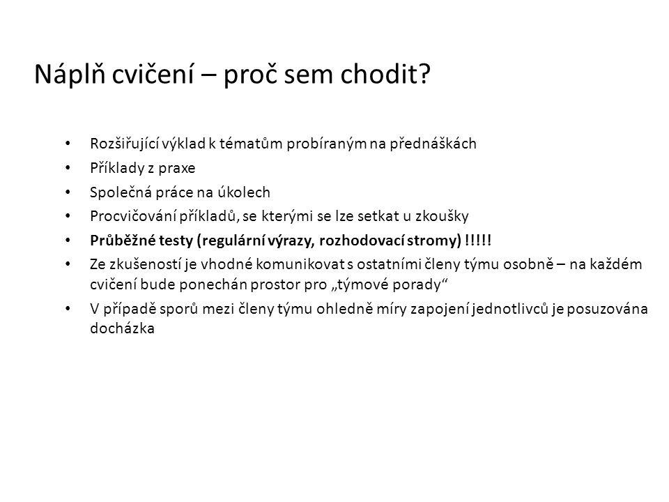Rozšiřující výklad k tématům probíraným na přednáškách Příklady z praxe Společná práce na úkolech Procvičování příkladů, se kterými se lze setkat u zk