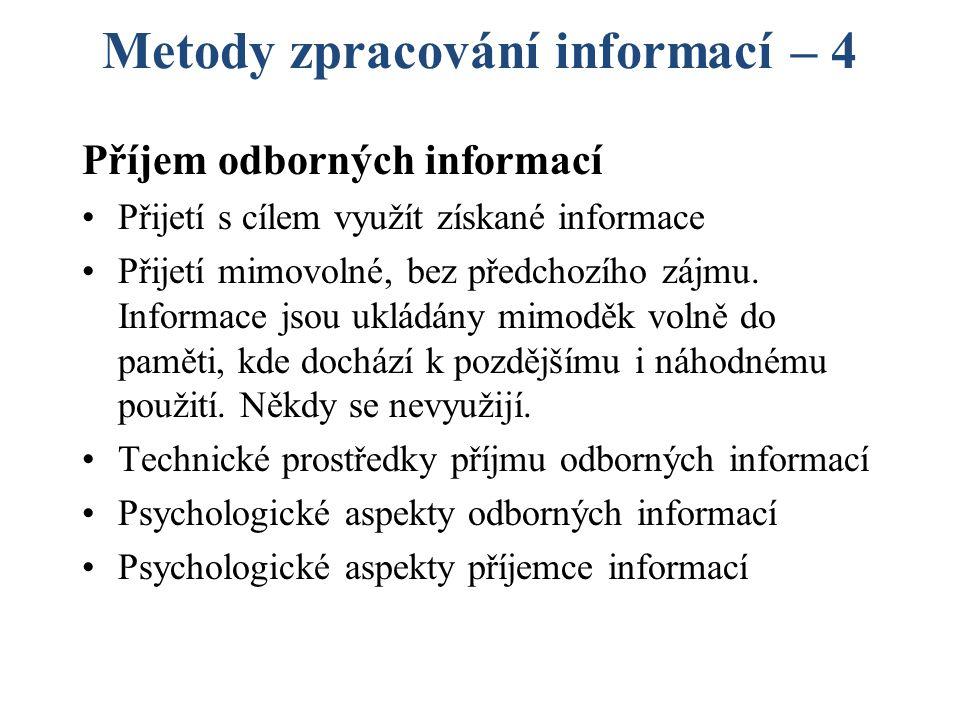Metody zpracování informací – 4 Příjem odborných informací Přijetí s cílem využít získané informace Přijetí mimovolné, bez předchozího zájmu.