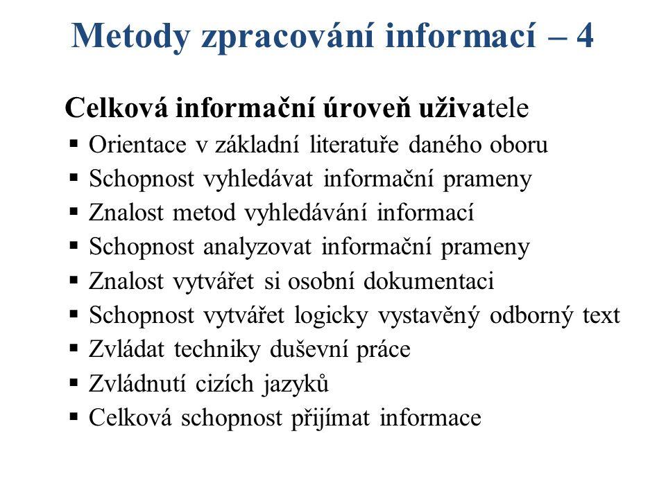 Metody zpracování informací – 4 Celková informační úroveň uživatele  Orientace v základní literatuře daného oboru  Schopnost vyhledávat informační prameny  Znalost metod vyhledávání informací  Schopnost analyzovat informační prameny  Znalost vytvářet si osobní dokumentaci  Schopnost vytvářet logicky vystavěný odborný text  Zvládat techniky duševní práce  Zvládnutí cizích jazyků  Celková schopnost přijímat informace