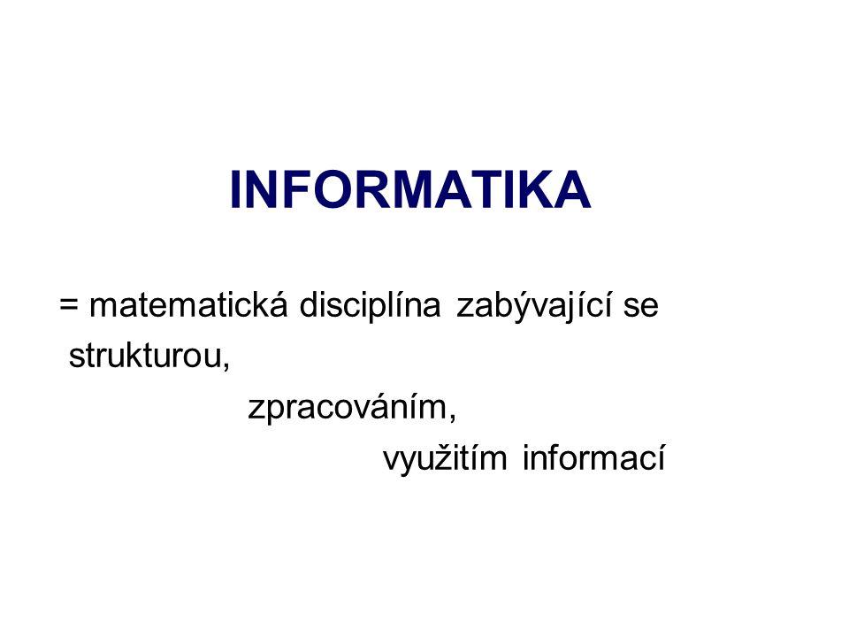 INFORMATIKA = matematická disciplína zabývající se strukturou, zpracováním, využitím informací
