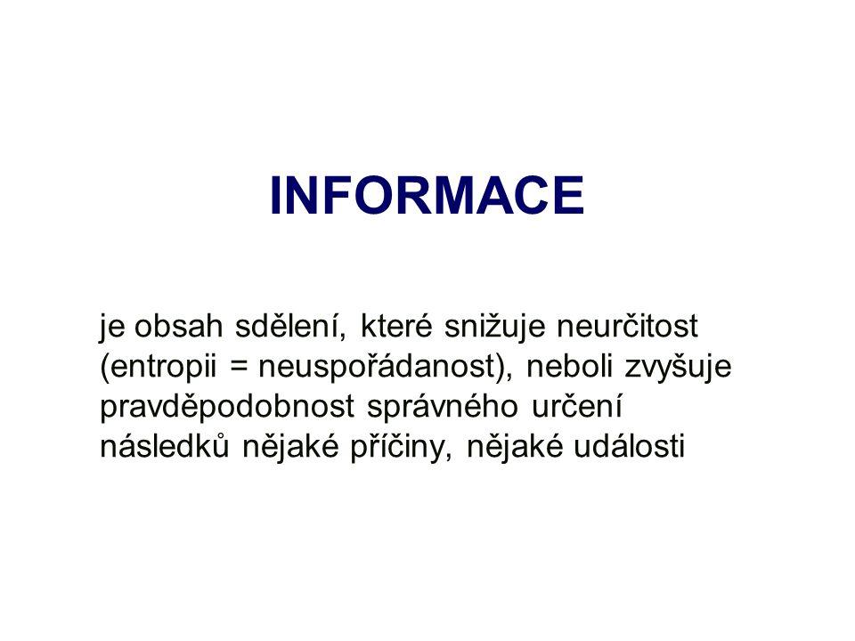 INFORMACE je obsah sdělení, které snižuje neurčitost (entropii = neuspořádanost), neboli zvyšuje pravděpodobnost správného určení následků nějaké příčiny, nějaké události