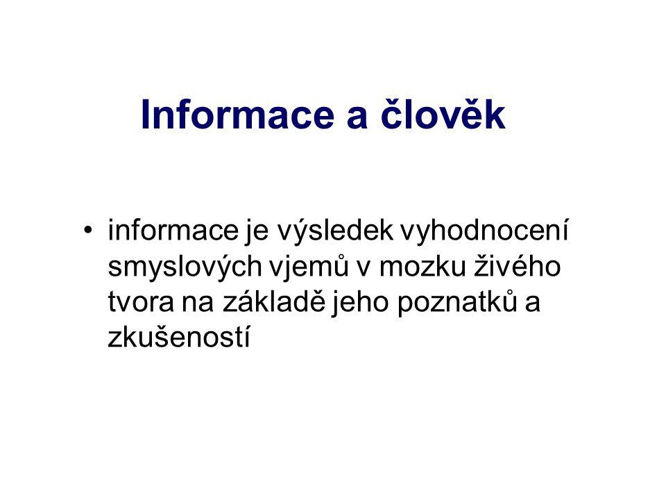 Informace a člověk informace je výsledek vyhodnocení smyslových vjemů v mozku živého tvora na základě jeho poznatků a zkušeností