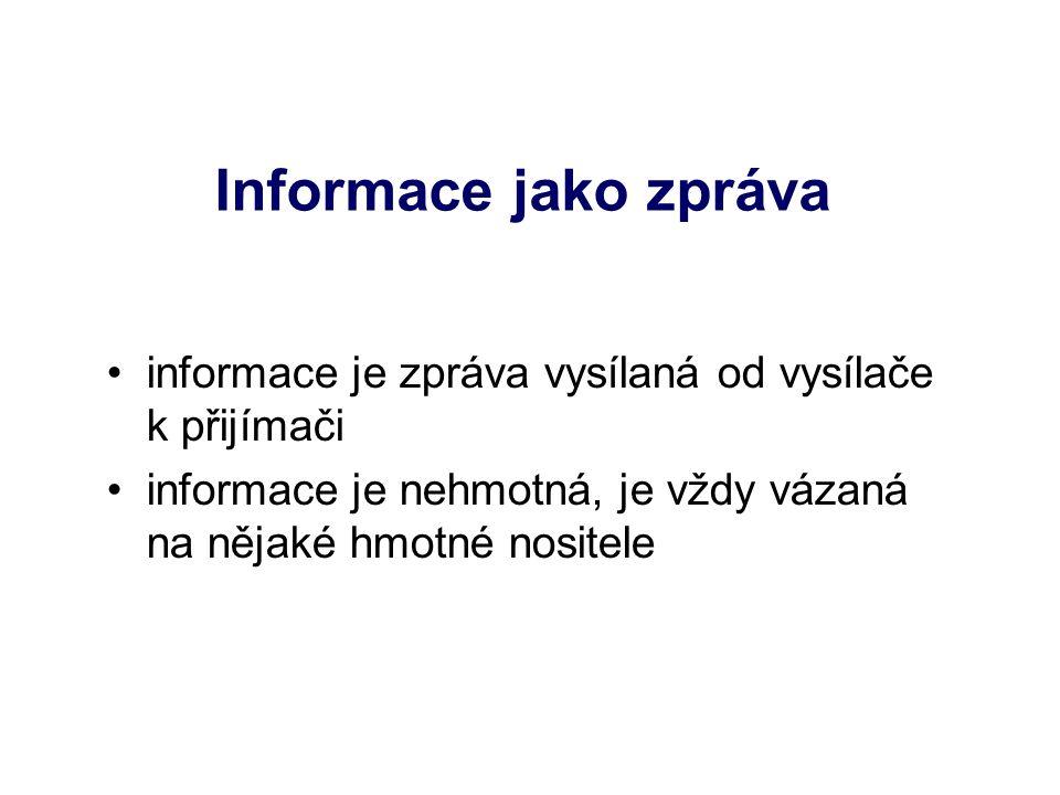 Informace jako zpráva informace je zpráva vysílaná od vysílače k přijímači informace je nehmotná, je vždy vázaná na nějaké hmotné nositele