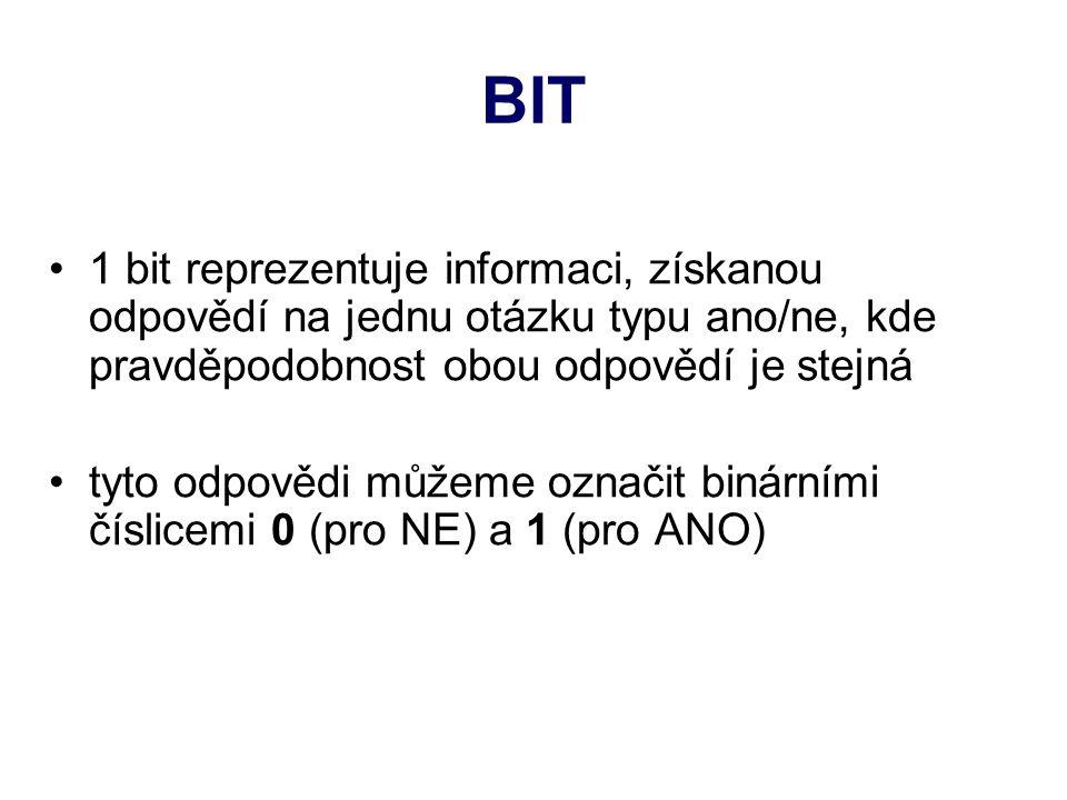 BIT 1 bit reprezentuje informaci, získanou odpovědí na jednu otázku typu ano/ne, kde pravděpodobnost obou odpovědí je stejná tyto odpovědi můžeme označit binárními číslicemi 0 (pro NE) a 1 (pro ANO)