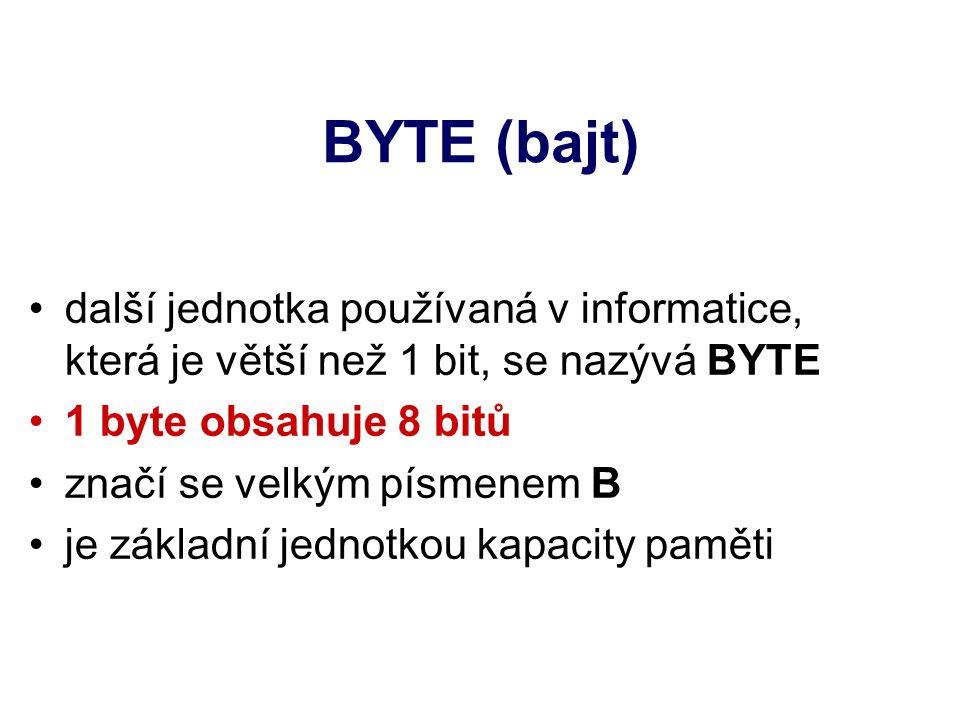 BYTE (bajt) další jednotka používaná v informatice, která je větší než 1 bit, se nazývá BYTE 1 byte obsahuje 8 bitů značí se velkým písmenem B je základní jednotkou kapacity paměti