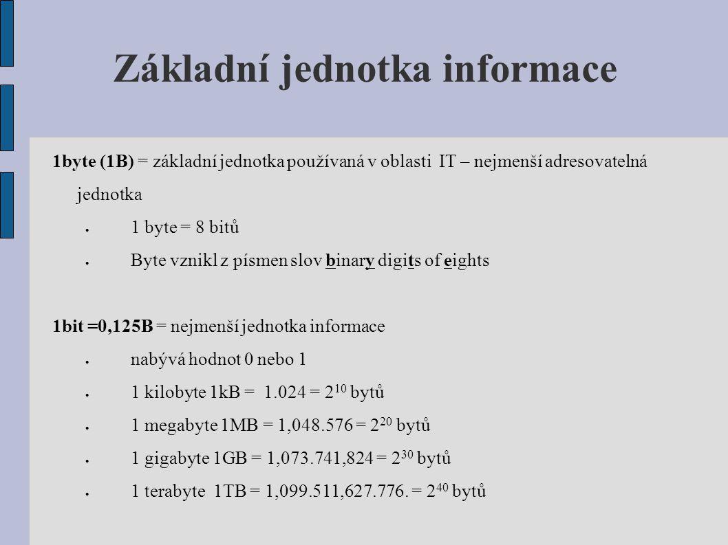 Základní jednotka informace 1byte (1B) = základní jednotka používaná v oblasti IT – nejmenší adresovatelná jednotka  1 byte = 8 bitů  Byte vznikl z