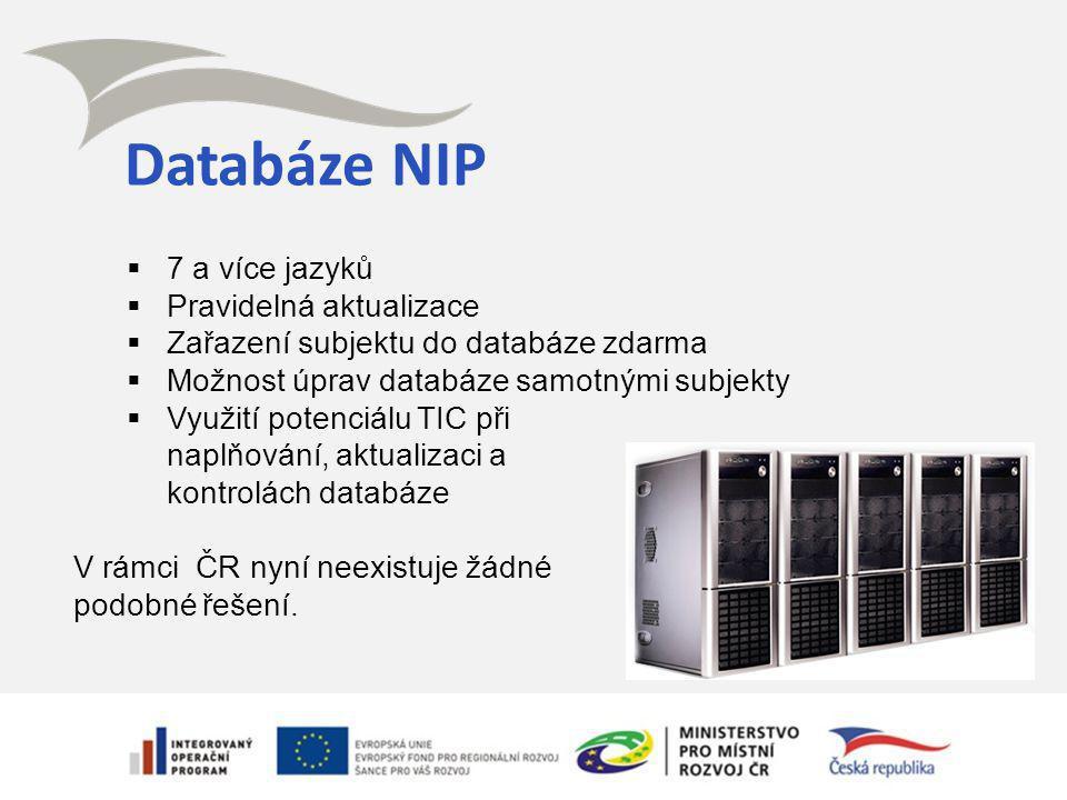 Databáze NIP  7 a více jazyků  Pravidelná aktualizace  Zařazení subjektu do databáze zdarma  Možnost úprav databáze samotnými subjekty  Využití potenciálu TIC při naplňování, aktualizaci a kontrolách databáze V rámci ČR nyní neexistuje žádné podobné řešení.