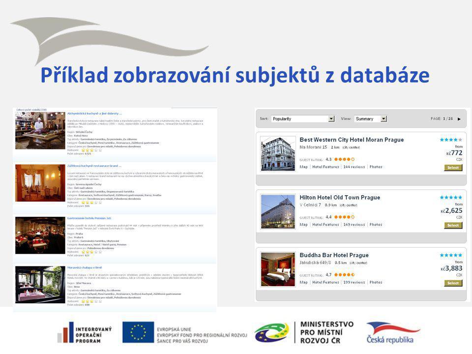 Příklad zobrazování subjektů z databáze Statistické nástroje