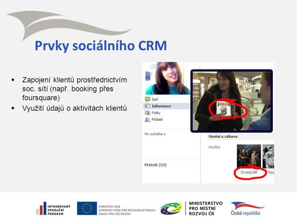 Prvky sociálního CRM  Zapojení klientů prostřednictvím soc. sítí (např. booking přes foursquare)  Využití údajů o aktivitách klientů