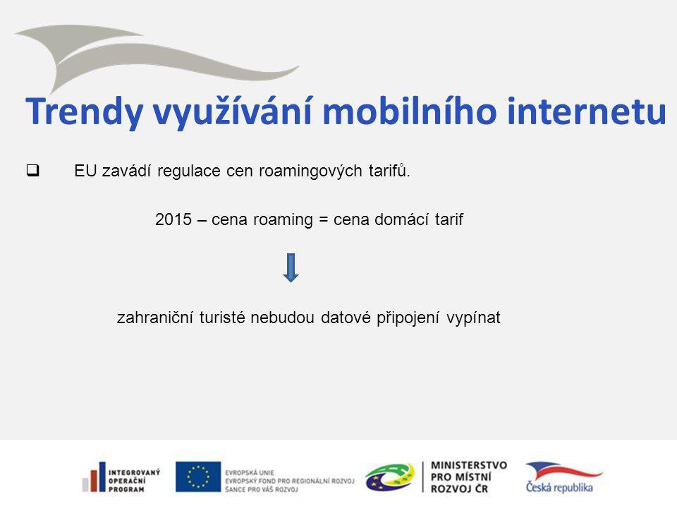 Trendy využívání mobilního internetu  EU zavádí regulace cen roamingových tarifů. 2015 – cena roaming = cena domácí tarif zahraniční turisté nebudou