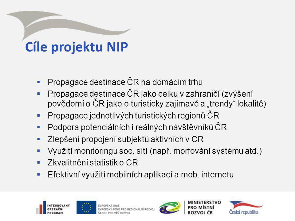 Cíle projektu NIP  Propagace destinace ČR na domácím trhu  Propagace destinace ČR jako celku v zahraničí (zvýšení povědomí o ČR jako o turisticky za